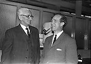 29/03/1963<br /> 03/29/1963<br /> 29 March 1963<br /> Retirement presentation at Pirie-Armstrong, Moss Street, Dublin. Mr. A. Thomson, General Manager Pirie-Armstrong and Director of both Pirie-Armstrong and A. Armstrong who was retiring from all posts with Mr. J.B. McCleery who succeeded him at the offices of the firm.