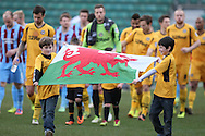 Mascots bearing the Welsh flag lead the teams out on St David's Day. Skybet football league 2 match, Newport county v Scunthorpe Utd at Rodney Parade in Newport, South Wales on Saturday 1st March 2014.<br /> pic by Mark Hawkins, Andrew Orchard sports photography.