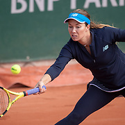 PARIS, FRANCE October 01. Jelena Ostapenko of Latvia in action against Carolina Pliskova of the Czech Republic in the second round of the singles competition on Court Philippe-Chatrier during the French Open Tennis Tournament at Roland Garros on October 1st 2020 in Paris, France. (Photo by Tim Clayton/Corbis via Getty Images)