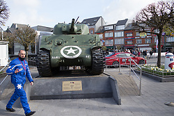 The famous tank on the main square of Bastogne is surrounded by race paraphernalia before the Liege-Bastogne-Liege Femmes - a 135.5 km road race, between  Bastogne and Ans on April 23, 2017, in Liege, Belgium.