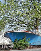 Berlin-Grünau. GERMANY. Derelict Motor Boat, abandoned on the Parade Ground.     Thursday 29/04/2011 [Mandatory Credit; Peter Spurrier/Intersport-images]