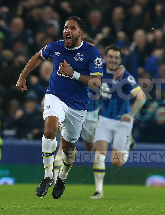 Ashley Williams of Everton celibates scoring the winning goal during the English Premier League match at Goodison Park Stadium, Liverpool. Picture date: December 13th, 2016. Pic Simon Bellis/Sportimage