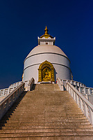 The Shanti Stupa (The World Peace Pagoda) on Anadu Hill, above Pokhara, Nepal.