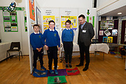 24/11/2019 repro free:<br />  Paul Mee  Chairman Galway Science and Technology Festival with Ballymana National school young Scientists John Donnellan, Gavin Martyn and Alisha Moran at the Galway Science and Technology Festival  at NUI Galway where over 20,000 people attended exhibition stands  from schools to Multinational Companies . Photo:Andrew Downes, xposure