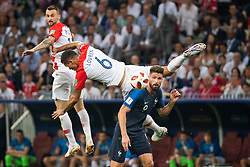 July 15, 2018 - Moscow, Russia - 180715 Dejan Lovren of Croatia falls in a duel with Olivier Giroud of France during the FIFA World Cup final match between France and Croatia on July 15, 2018 in Moscow..Photo: Petter Arvidson / BILDBYRÃ…N / kod PA / 92087 (Credit Image: © Petter Arvidson/Bildbyran via ZUMA Press)