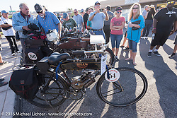 Brent Hanson's Class-1, single-cylinder, single-speed, belt drive 1913 Shaw Motorcycle along with other bikes on display in downtown Lake Havasu City, Arizona where their Convention and Visitors Bureau hosted a dinner for the riders during the Motorcycle Cannonball Race of the Century. Stage-13 ride from Williams, AZ to Lake Havasu City, AZ. USA. Friday September 23, 2016. Photography ©2016 Michael Lichter.