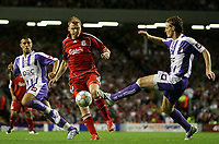 Photo: Paul Thomas.<br /> Liverpool v Toulouse. UEFA Champions League Qualifying. 28/08/2007.<br /> <br /> John Arne Riise of Liverpool in action against Mauro Cetto (R).