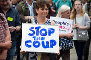 Pro EU demonstrators protest in Westminster as it is announced that the British Prime Minister Boris Johnsons his request to suspend Parliament  has been approved by the Queen on 28th August 2019 in London, United Kingdom. Some Remain supporting MPs believe this move to be a ploy to hinder legislation preventing a No Deal Brexit.