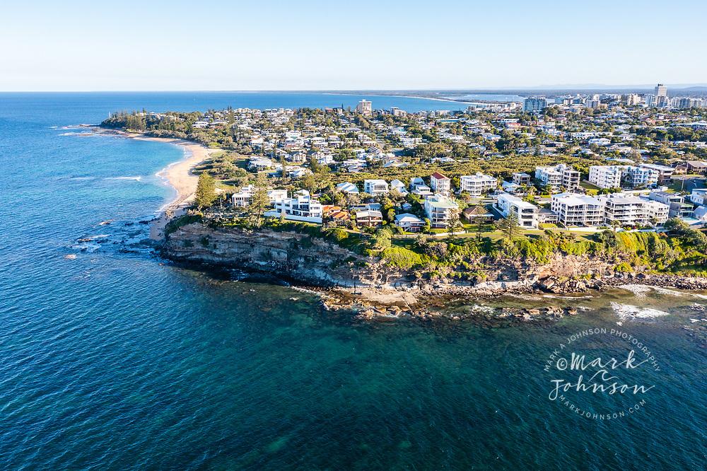 Aerial view of Moffat Headland, Moffat Beach, Sunshine Coast, Queensland, Australia