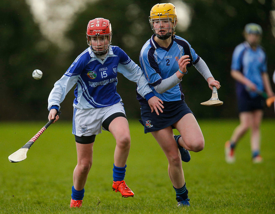 All Ireland Schools Senior B Camogie Quarter Final at Dunganny, Meath, 30th January 2016.<br /> Dunshaughlin CC vs Mercy Roscommon<br /> Juiliette Wall (Dunshaughlin CC) & Eala Coyle (Mercy Roscommon)<br /> Photo: David Mullen /www.cyberimages.net / 2016