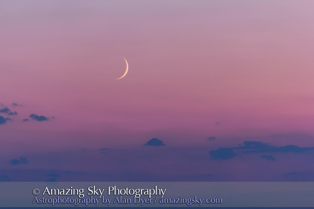 This is the first post-eclipse Moon I had a chance to see and shoot. This was August 23, 2017.<br /> <br /> The very thin Moon would have been visible the night before, August 22, 2017, but from my location that night in Helena, Montana, on my trip back home from Idaho, the sky was too smoky. The Sun disappeared above the horizon into the smoke as a red ball. So there was little hope of sighting that first post-eclipse crescent of a 1.5-day-old Moon. <br /> <br /> So this 2.5-day-old Moon, still in some haze, will have to do! <br /> <br /> This is with the Canon 60Da and 200mm lens, the same combination I used to shoot the last waning Moon before the eclipse, at dawn from Idaho on August 20.