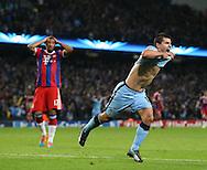 Sergio Aguero of Manchester City celebrates scoring the winning goal - UEFA Champions League group E - Manchester City vs Bayern Munich - Etihad Stadium - Manchester - England - 25rd November 2014  - Picture Simon Bellis/Sportimage