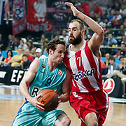 Olympiacos's Vassilis Spanoulis (R) and FC Barcelona Regal's Marcelinho Huertas (L) during their Euroleague Final Four semifinal Game 2 basketball match Olympiacos's between FC Barcelona Regal at the Sinan Erdem Arena in Istanbul at Turkey on Friday, May, 11, 2012. Photo by TURKPIX