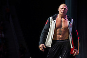 LAS VEGAS, NV - JULY 8:  Brock Lesnar stands on stage during the UFC 200 weigh-ins at T-Mobile Arena on July 8, 2016 in Las Vegas, Nevada. (Photo by Cooper Neill/Zuffa LLC/Zuffa LLC via Getty Images) *** Local Caption *** Brock Lesnar