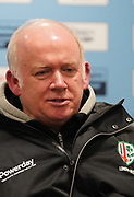 London Irish Head Coach Declan Kidney speaks to the press after his sides 39-0 defeat in a Gallagher Premiership Rugby Union match, Friday, Mar. 6, 2020, in Eccles, United Kingdom. (Steve Flynn/Image of Sport)