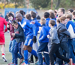 Montrose Marvin Andrews at the with the fans. <br /> Montrose 3 v 1 Brora Rangers, Scottish League Two play-off second leg, today at Links Park, Montrose.