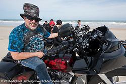 Krazy J Kieffer on Daytona Beach during Daytona Bike Week 75th Anniversary event. FL, USA. Thursday March 3, 2016.  Photography ©2016 Michael Lichter.