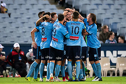 December 15, 2018 - Sydney, NSW, U.S. - SYDNEY, NSW - DECEMBER 15: Sydney FC celebrate the goal of Sydney FC defender Jacob Tratt (18) at the Hyundai A-League Round 8 soccer match between Western Sydney Wanderers FC and Sydney FC at ANZ Stadium in NSW, Australia on December 15, 2018. (Photo by Speed Media/Icon Sportswire) (Credit Image: © Speed Media/Icon SMI via ZUMA Press)