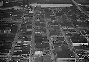 """Ackroyd 01907-2. """"aerials of northwest business district including Broadway and Burnside bridges. December 14, 1949"""" (NW Portland, Pearl District, Old Town)"""