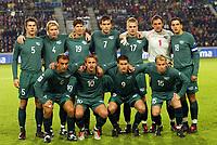 Fotball / Soccer<br /> VM-kvalifisering / World Cup Qualifier<br /> Norge v Slovenia / Norway v Slovenia<br /> 13.10.2004<br /> Foto: Morten Olsen, Digitalsport<br /> <br /> Slovenia<br /> Bostjan Cesar (5) - Matej Mavric (4) - Simon Seslar (19) - Goran Sukalo (7) - Klemen Lavric (17) - Borut Mavric (1) - Milenko Acimovic (18).<br /> Zeljko Mitrakovic (6) - Nastja Ceh (10) - Ermin Siljak (9) - Jalen Pokorn (15)