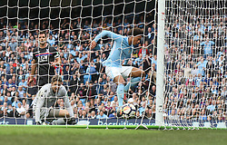 23 September 2017 Manchester : Premier League Football : Manchester City v Crystal Palace: Leroy Sane (far right)scores the opening goal for City. Photo: Mark Leech