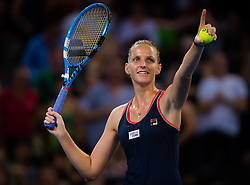 January 5, 2019 - Brisbane, AUSTRALIA - Karolina Pliskova of the Czech Republic celebrates winning the semi-final of the 2019 Brisbane International WTA Premier tennis tournament (Credit Image: © AFP7 via ZUMA Wire)
