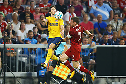 August 2, 2017 - Munich, Germany - Sime Vrsaljko of Atletico de Madrid and James Milner of Liverpool during the Audi Cup 2017 match between Liverpool FC and Atletico Madrid at Allianz Arena on August 2, 2017 in Munich, Germany. (Credit Image: © Matteo Ciambelli/NurPhoto via ZUMA Press)
