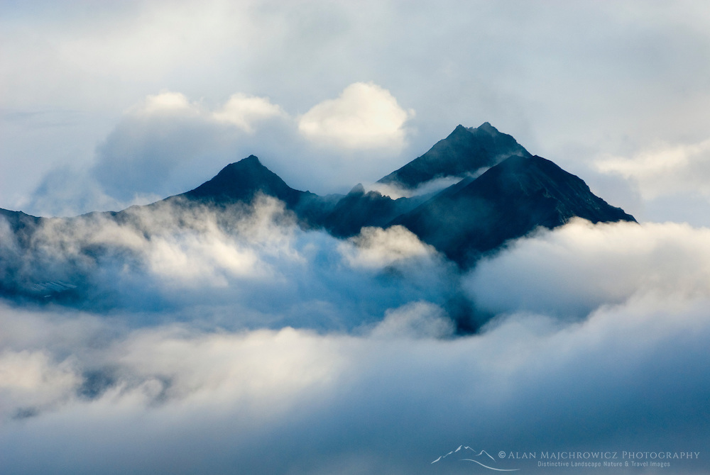 Peaks emerging from passing storm clouds Wrangell-St. Elias National Park Alaska