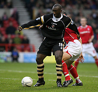 Photo: Pete Lorence.<br />Nottingham Forest v Charlton Athletic. The FA Cup. 06/01/2007.<br />Jimmy Floyd Hasselbaink in action against Ian Breckin.