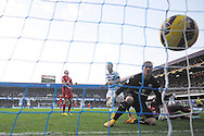 Wes Morgan, the Leicester City  scores an own goal to make it 1-1 as Leicester goalkeeper Kasper Schmeichel looks on in disbelief . Barclays Premier league match, Queens Park Rangers v Leicester city at Loftus Road in London on Saturday 29th November 2014.<br /> pic by John Patrick Fletcher, Andrew Orchard sports photography.