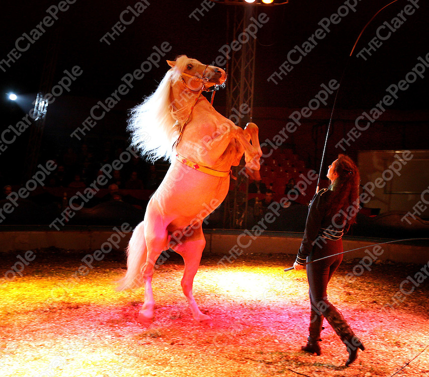 Tom Duffy's Circus performing at the showgrounds Ennis recently.<br /><br />Photograph by Eamon Ward