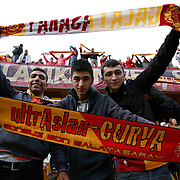 Galatasaray's supporters during their Turkish superleague soccer derby match Galatasaray between Fenerbahce at the AliSamiYen Stadium at Mecidiyekoy in Istanbul Turkey on Sunday, 28 March 2010. Photo by Aykut AKICI/TURKPIX