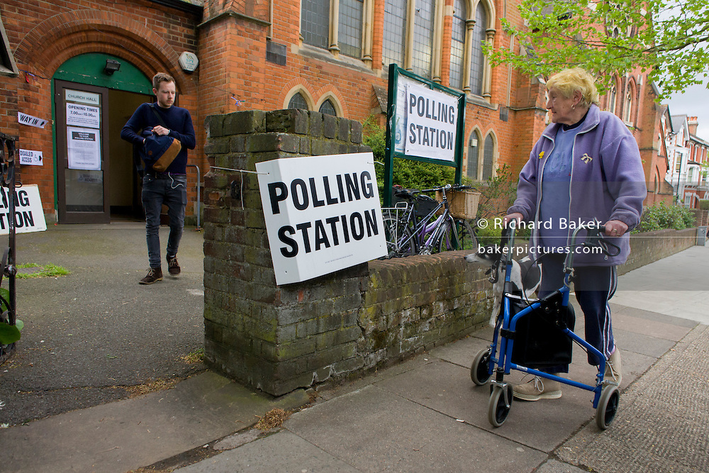 Britons go to the polls today in a general election predicted to be the closest for decades as no single party is expected to secure a majority. Londoners vote at their local polling station, a Baptist church in East Dulwich.