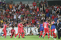20110812: BARCELOS, PORTUGAL - Gil Vicente vs SL Benfica: Portuguese League 2011/2012, 1st round. In picture: Gil Vicente players celebrate a goal. PHOTO: Pedro Benavente/CITYFILES