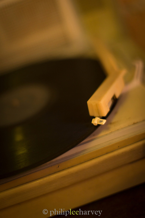 Close up of record player in cafe Madrigal, Havana, Cuba