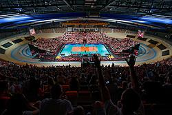 21-09-2019 NED: EC Volleyball 2019 Poland - Spain, Apeldoorn<br /> 1/8 final EC Volleyball / Polish fan, support, view centercourt Omnisport De Voorwaarts