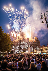 Fireworks on the City Chambers building.<br /> Friday night DJ set from George Square, BBC Radio 1's Big Weekend Glasgow 2014.