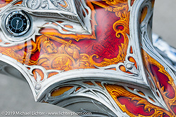 """Another amazing paint job by Quebec artist Fitto on Christian Rivard's award winning """"Spartacus"""" bike was on display Wednesday at the Ride-In Show at the Harley-Davidson display during Daytona Bike Week. FL, USA. March 12, 2014.  Photography ©2014 Michael Lichter."""