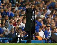Photo: Daniel Hambury.<br />Chelsea v Anderlecht. UEFA Champions League.<br />13/09/2005.<br />Chelsea's Jose Mourinho summons a substitute.
