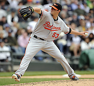 CHICAGO - MAY 01:  Zach Britton #53 of the Baltimore Orioles pitches against the Chicago White Sox on May 01, 2011 at U.S. Cellular Field in Chicago, Illinois.  The Orioles defeated the White Sox 6-4.  (Photo by Ron Vesely)  Subject:   Zach Britton