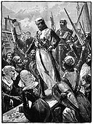Richard I, Coeur de Lion, (1157-1199) landing at Sandwich, Kent, 14 March 1194.  Richard,  son of Henry II and Eleanor of Aquitaine, and second  Angevin (Plantagenet) king of England, (1189-1199).  On his way home from the Third Crusade (1189-1192) he was shipwrecked and began to make his way across Europe in disguise. He was recognised and held to ransom by Emperor Henry VI.  England paid the ransom and Richard was released.   Wood engraving c1880.
