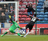 Seko Fofana of Fulham scores the 2nd goal against Huddersfield during the Sky Bet Championship match at the John Smiths Stadium, Huddersfield<br /> Picture by Graham Crowther/Focus Images Ltd +44 7763 140036<br /> 21/03/2015