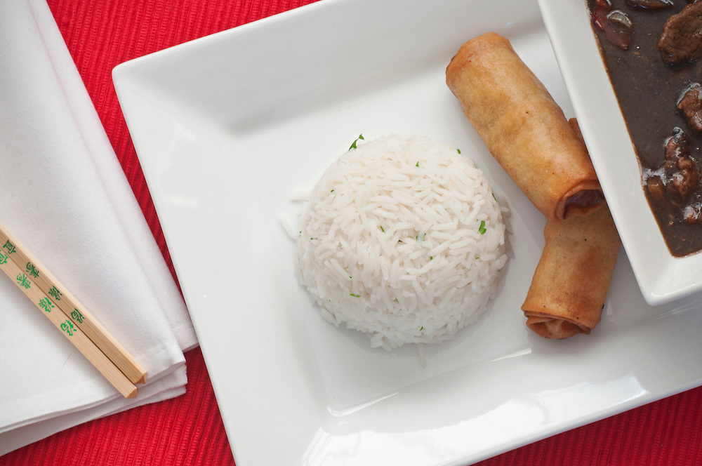Chinese Beef, rice & spring rolls.