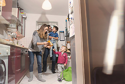 Family in the kitchen, Munich, Germany
