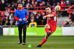 11th November 2018 , Racecourse Ground,  Wrexham, Wales ;  Rugby League World Cup Qualifier,Wales v Ireland ; James Olds of Wales kicks a goal<br /> <br /> <br /> Credit:   Craig Thomas/Replay Images