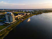 Aerial photograph of Riverfront Place, Omaha, Nebraska on a beautiful morning.