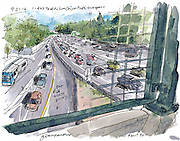 The experience of drawing traffic from the Denny Way overpass piqued the Seattle Sketcher's interest in documenting the region's congested roads. (Gabriel Campanario / The Seattle Times)