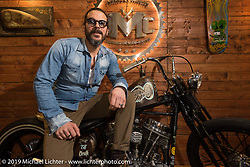 Demetrio Piccolo on his custom Panhead in his DMC Bikes booth at Motor Bike Expo. Verona, Italy. Sunday January 21, 2018. Photography ©2018 Michael Lichter.