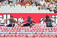 Aries Merritt (USA) races Milan Trajkovic (CYP) and Eddie Lovett (ISV) in the 110m Hurdles Men Final during the Muller Anniversary Games at the London Stadium, London, England on 9 July 2017. Photo by Jon Bromley.