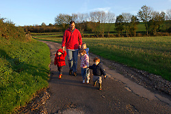ST MICHEL SOUS BOIS, FRANCE - NOV-11-2005 - Andrew Sawyer of London, England, enjoys a walk through the French countryside with his children and family friends. (PHOTO © JOCK FISTICK)